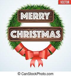 Christmas wreath greetings - Traditional Green christmas...
