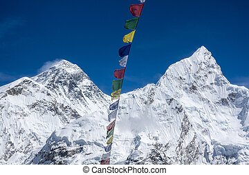 Beautiful Landscape of Everest and Lhotse peak with colorful...