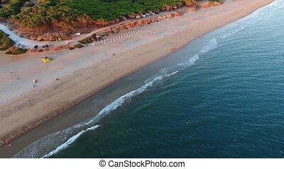 Aeria view of the Lagoa Beach Quarteira. Portugal Vale de...
