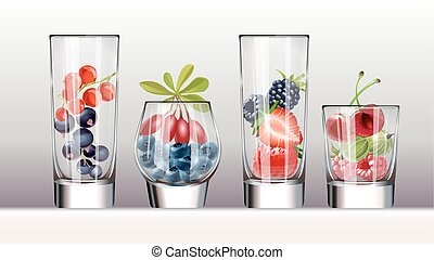Set of icons glasses with a variety fresh berries - Set of...