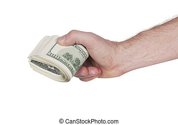 hand holding the stack of hundred dollars