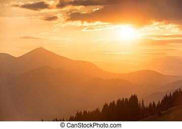 schöne, Berge, Sonnenuntergang