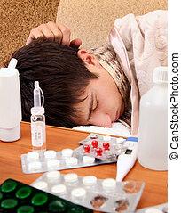 Sick Teenager sleeping - Sick Young Man sleep on the Sofa...