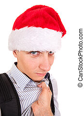 Frightened Teenager in Santa Hat - Person threatens to...