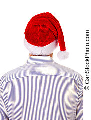 Rear View of a Man in Santa Hat Isolated on the White...