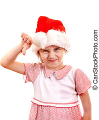 Small Girl in Santa Hat - Annoyed Small Girl in Santa Hat...
