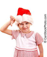 Small Girl in Santa Hat - Annoyed Small Girl in Santa Hat...