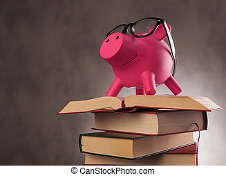 side of a piggy bank wearing glasses standing on books -...