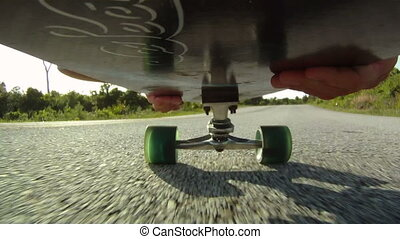 Downhill Skateboarding - skateboarding skateboarder point of...