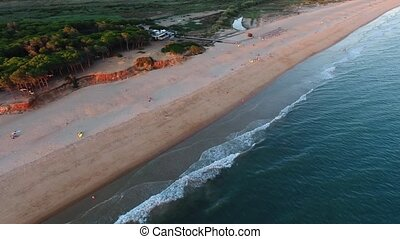 Aerial view of Praia da Alagoa, Quarteira flight. Vale de...