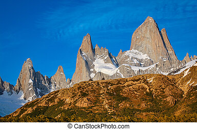 Impressive Mount Fitzroy in southern Patagonia, Argentina in...