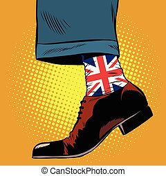 Stylish hipster socks with the British flag, pop art retro...