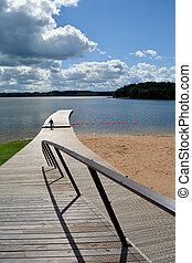 lake landscape with fisherman silhouete - summer resort lake...