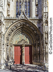 famous entrance gate at Cathedral of St. Jean Maltese -...