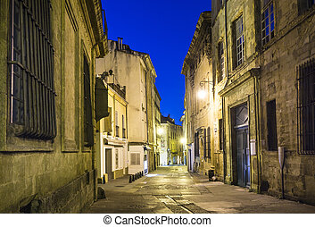 small alley by night in Aix en Provence, France