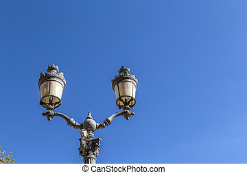 old lantern downtown Aix en provence under blue sky - old...