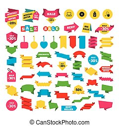 Notebook pc and Usb flash drive stick icons. - Web stickers,...