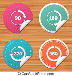 Angle degrees circle icons. Geometry math signs. - Round...