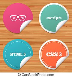 Programmer coder glasses. HTML markup language. - Round...