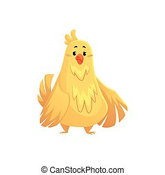 Cute and funny fat, chubby chicken