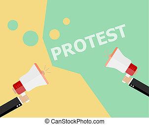 套間, 風格, 概念, 招貼, 人群, 海報, 人們, 政治, 符號, 手,  politic,  protesters,  Bullhorn, 抗議, 革命, 藏品, 簽署, 危機, 背景, 拳頭