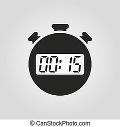 The 15 seconds, minutes stopwatch icon. Clock and watch,...
