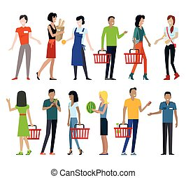 Set of Shopping Characters Vector Illustration. - Set of...