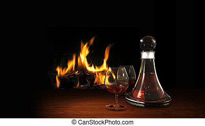 still life with aperitif or digestif and fire place - cozy...