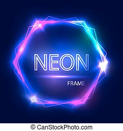 Neon sign. Hexagon background. Glowing electric abstract...