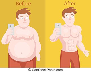 Fat man doing selfie before and after weight loss. Colorful...