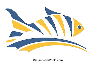 Fish logo with wave.