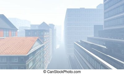 Skyscrapers at early foggy morning in the city district