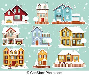 City houses in Winter