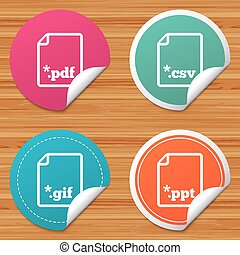 Document signs. File extensions symbols. - Round stickers or...