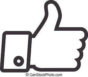 Thumbs up icon - Thumbs up line icon isolated on a white...