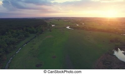 River panorama. Turn right. 4k 30fps - Aerial View: 180...