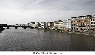 Arno river in Florence - View of Arno river in Florence,...