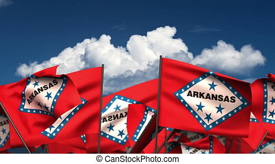 Waving Arkansas State Flags (seamless & alpha channel)