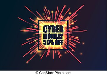 Cyber Monday discount fireworks - Cyber Monday Sale label....