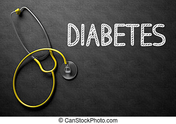 Chalkboard with Diabetes. 3D Illustration. - Medical...