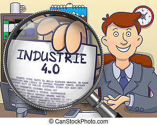 Industrie 4.0 through Magnifier. Doodle Style. - Industrie...