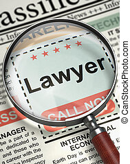 Lawyer Hiring Now. 3D. - Lawyer. Newspaper with the Jobs....