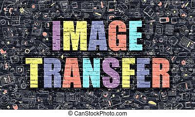 Image Transfer in Multicolor. Doodle Design. - Image...