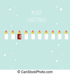 Christmas Greeting Card with candle. Vector illustration.