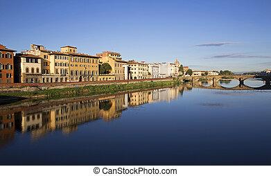 Ponte Vecchio - Morning view of Ponte Vecchio in Florence,...