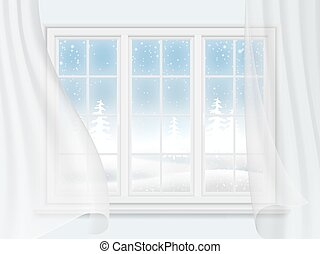 winter window with curtains - View of the winter landscape...