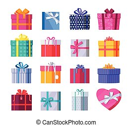 Set of Colorful Gift Boxes with Ribbons and Bows - Set of...