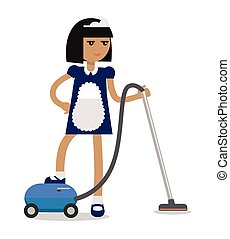 House Cleaning Personnel Vector Concept - House cleaning...
