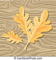 Oak leaf on Wooden Background Vector Illustration - Oak leaf...