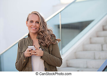 woman with cell or mobile phone